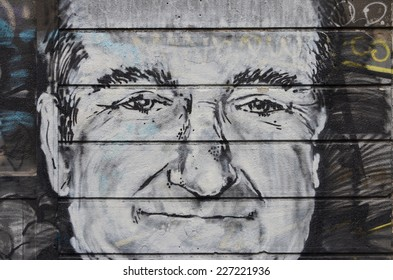 BELGRADE, SERBIA - OCTOBER 5, 2014: Robin Williams appeared on graphite in Karadjordjeva street in Belgrade, Serbia, on August 12 2014, the day after Williams committed suicide
