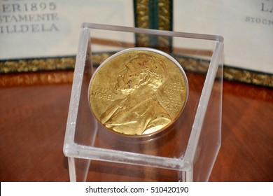 Belgrade, Serbia. October 7th 2016 - Alfred Nobel on the Nobel Prize medal from 1961 year