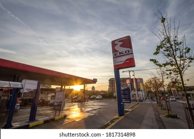 BELGRADE, SERBIA - OCTPBER 13, 2019: EKO logo on their gas station in New Belgrade. Member of Hellenic Petroleum, EKO is the main petrol stations and energy groups of Greece, spread in the Balkans.