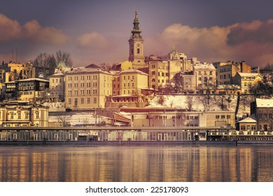 Belgrade, Serbia old town from the river Sava. Retro filtered image + HDR.