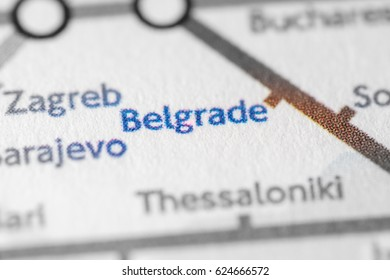 Belgrade, Serbia on a geographical map.