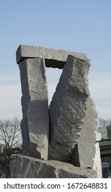 Belgrade, Serbia / Republic of Serbia - February, 17th, 2020.: Outdoor modern stone sculpture in city of Belgrade (Republic of Serbia) recreation area.