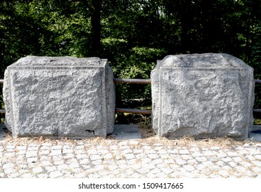 Belgrade, Serbia / Republic of Serbia - September, 08th, 2019.: A hand hewn stone blocks as a part of a fence on a promenade in mountain Avala (15 miles from Belgrade).