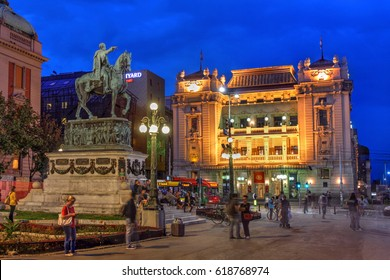 BELGRADE, SERBIA - SEPT 9: Night scene of Belgrade, Serbia with Republic Square, the heart of the city, featuring the National Theatre and the statue of Prince Mihailo on September 9, 2016.