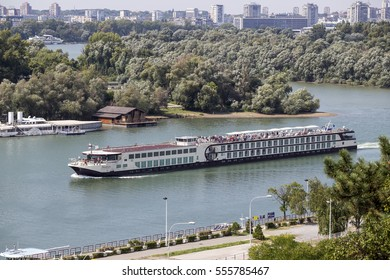 BELGRADE, SERBIA - SEPTEMBER 08, 2016: View from Belgrade fortress on Sava river with cruise ships.