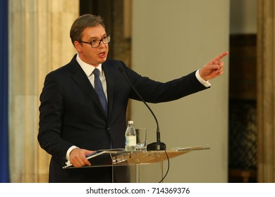 Belgrade, Serbia. September 12th 2017: Serbian President Aleksandar Vucic with national flag and flag European Union speaks at a press conference in the presidency, Belgrade 2017