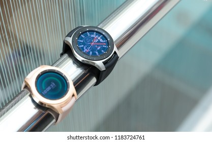Belgrade, Serbia - September 13, 2018: New Samsung Galaxy Watch 46 mm  SM-R800 and 42 mm SM-R810 are displayed in electronic store. New gadgets showing time on the screen against isolated background.