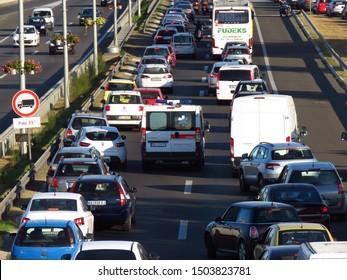 Belgrade, Serbia, September 13, 2019. The ambulance car breaks through the traffic jam in rush hour on highway E-75.