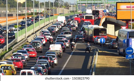 Belgrade, Serbia, September 13, 2019. Traffic jam at rush hour on highway E-75.