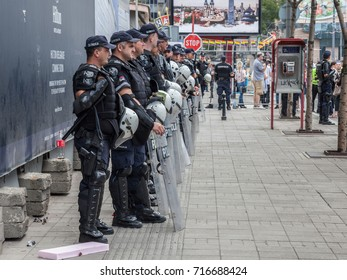 BELGRADE, SERBIA - SEPTEMBER 17, 2017: Serbian policemen protecting the 2017 edition of the Belgrade gay pride. The parade happened this year without trouble, under huge police watch.