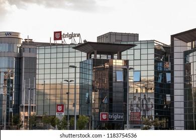 BELGRADE, SERBIA - SEPTEMBER 19, 2018:  Logo of Triglav insurance on their Belgrade headquarters. Triglav Insurance Company is the biggest Slovenian commercial insurance firm