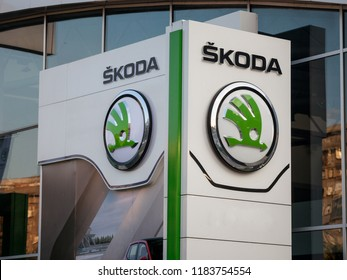 BELGRADE, SERBIA - SEPTEMBER 19, 2018: Skoda logo on their main dealership store Belgrade. Skoda is a Czech car and automotive manufacturer part of the Volkswagen group