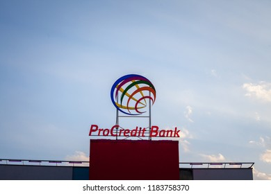 BELGRADE, SERBIA - SEPTEMBER 19, 2018: ProCreditBank logo on their main office for Serbia. Pro Credit Bank is a German financial institution specialized in banking and micro credit