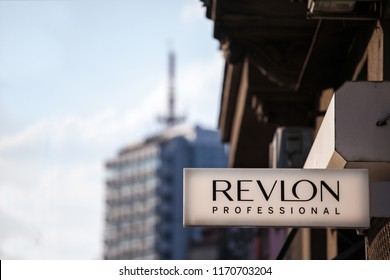 BELGRADE, SERBIA - SEPTEMBER 2, 2018: Logo of Revlon on their local retailer for Serbia. Revlon is an American cosmetics and beauty products spread worldwide