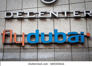 BELGRADE, SERBIA - SEPTEMBER 2, 2018: Flydubai logo in front of their main office for Belgrade. Flydubai is the budget airline of Dubai owned by the government of UAE.