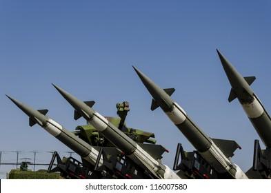 BELGRADE, SERBIA - SEPTEMBER 2: Air force missile system Neva-M on the Airshow Batajnica 2012 in Belgrade, Serbia on September 2, 2012.