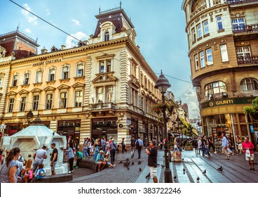 BELGRADE, SERBIA - SEPTEMBER 23: Republic Square or Square of the Republic on September 23, 2015 in Belgrade, Serbia. One of the central town squares and an urban neighborhood of Belgrade.