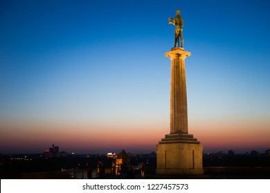 Belgrade, Serbia: September 25th 2017: Monument Pobjednik, famous landmark in park Kalemegdan Belgrade, Beograd in sunset