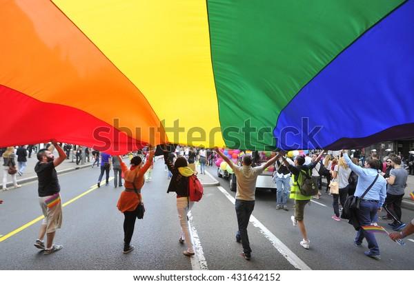 BELGRADE, SERBIA - SEPTEMBER 28, 2014: LGBT oriented people take part in Gay Pride Parade, in Belgrade, Serbia on September 28, 2014