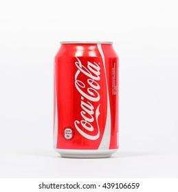 BELGRADE, SERBIA - September 29, 2014: 0,33l Coca-Cola can Isolated On White Background. Coca-Cola is a carbonated soft drink sold in shops, restaurants, and vending machines around the globe.