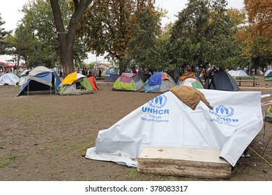 BELGRADE, SERBIA - SEPTEMBER 30, 2015: Tents With Syrian Refugees and Migrants Camping at Park in Belgrade, Serbia.