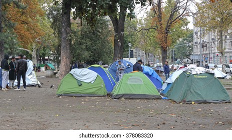BELGRADE, SERBIA - SEPTEMBER 30, 2015: Tents With Syrian Refugees and Migrants at Park in Belgrade, Serbia.