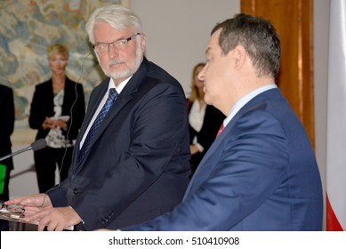 Belgrade, Serbia. September 30th 2016: Poland Minister of Foreign Affairs Witold Waszczykowski in the Official visit to Republic of Serbia, meeting with Serbian Foreign Minister Ivica Dacic