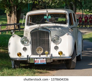 Belgrade / Serbia - September 4th 2016: White old-timer limousine  decorated for the wedding ceremony, Luxury wedding car