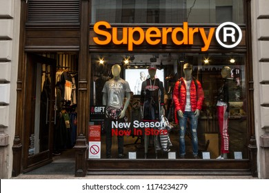 BELGRADE, SERBIA - SEPTEMBER 5, 2018: Superdry logo on their main store in Serbia. Superdry is a fashion retailer from the UK with stores spread worldwide