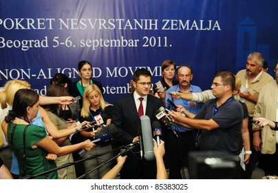 BELGRADE, SERBIA - SEPTEMBER 5: Minister of Foreign Affairs Vuk Jeremic speaks with journalists at a conference of Heads of State of the Non-Aligned Countries in Belgrade, Serbia on September 5, 2011