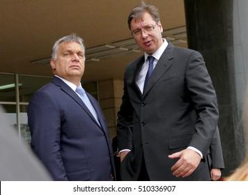 Belgrade, Serbia. September 5th, 2016: Hungarian Prime Minister Viktor Orban at the official visit to Aleksandar Vucic, Prime Minister of Serbia