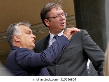 Belgrade, Serbia. September 5th, 2016: Hungarian Prime Minister Viktor Orban at the official visit to Aleksandar Vucic, Prime Minister of Serbia