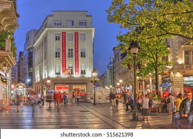 BELGRADE, SERBIA - SEPTEMBER 9, 2016: Night scene along the pedestrian street Knez Mihailova in downtown Belgrade, Serbia one of the city's attractions, showing the lively atmosphere.