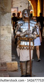 Belgrade / Serbia - September 9th 2018: Man wearing armor as a medieval Serbian knight at the gates of Belgrade fortress (Kalemegdan) in Belgrade, capital of Serbia