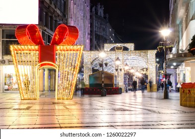 Belgrade, Serbia street and shops in old town decoration and illuminated for New Year and Christmas - Image
