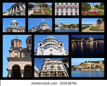 Belgrade, Serbia travel photo collage. Collage includes major landmarks like Sava River skyline, Parliament and Cathedral.