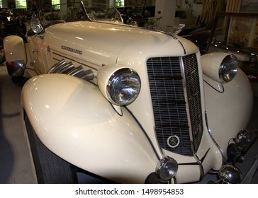 BELGRADE, SERBIA-AUGUST 25, 2019:  Auburn Boattail Speedster (1936) , Old Timer Photographed From The Side At The Car Museum In Belgrade