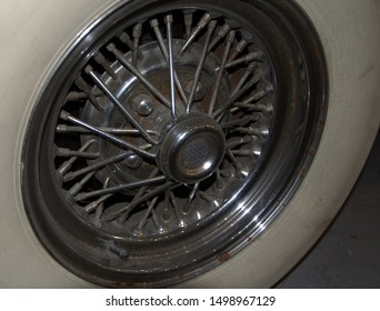 BELGRADE, SERBIA-AUGUST 25, 2019: Car Wheel  Of Old Timer- Auburn Boattail Speedster (1936) , Photographed At The Car Museum In Belgrade
