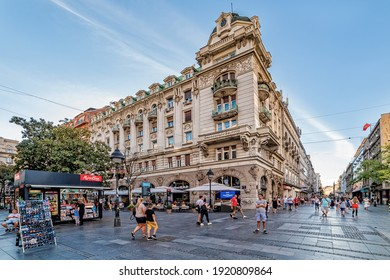 """Belgrade, Serbia-August 27, 2020: Knez Mihailova Street in downtown Belgrade with """"Ruski Car"""" cafe in front. The most famous promenade in the center of Belgrade."""