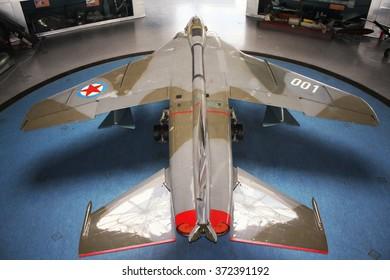 Belgrade, Serbia-mart 16, 2015: Yugoslav Eagle Plane im museum YUROM J-22H Orao (Eagle) AERONAUTICAL MUSEUM-BELGRADE