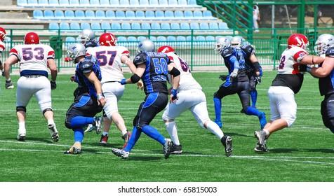 BELGRADE, SERBIA-MAY 17: Blue Dragon play American football against the Italian team from Bologna Stracciari, May 17, 2009 in Belgrade, Serbia