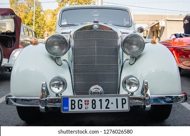 Belgrade, Serbia-October 13, 2018: An oldtimer exhibition in the parking lot in front of the Rakovica Municipality in Belgrade, Serbia. Mercedes Benz Model 170S, the oldtimer.