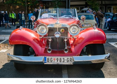 Belgrade, Serbia-October 13, 2018: An oldtimer exhibition in the parking lot in front of the Rakovica Municipality in Belgrade, Serbia. Mercedes-Benz 500K Luxus Roadster 1930s.