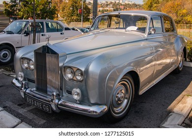 Belgrade, Serbia-October 13, 2018: An oldtimer exhibition in the parking lot in front of the Rakovica Municipality in Belgrade, Serbia. Rolls-Royce Silver Cloud III a vintage limousine from the 1960s.
