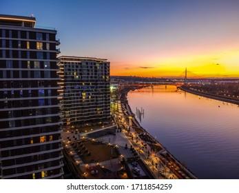 Belgrade waterfront on the Sava river at sunset. Drone view on Belgrade waterfront.Sunset in Belgrade, Serbia.