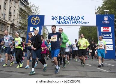 "BELGRADE-APRIL 22:A group of runners start race on""The30th Belgrade Marathon"".April 22, 2017 in Belgrade,Serbia"