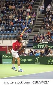 BELGRADE-APRIL 7:Player A. Ramos-Vinolas(ESP)serving a ball during a match against  N.Djokovic(SRB)during Quarterfinalsl Davis Cup Serbia-Espania.N.Djokovic won 3:0,on April 7,2017 in Belgrade,Serbia