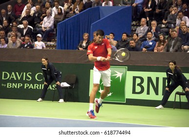BELGRADE-APRIL 7:Player N.Djokovic(SRB)return a ball during a match against A. Ramos-Vinolas(ESP) during Quarterfinalsl Davis Cup Serbia-Espania.N.Djokovic won 3:0,on April 7,2017 in Belgrade,Serbia