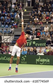 BELGRADE-APRIL 7:Player N.Djokovic(SRB)serving a ball during a match against A. Ramos-Vinolas(ESP) during Quarterfinalsl Davis Cup Serbia-Espania.N.Djokovic won 3:0,on April 7,2017 in Belgrade,Serbia