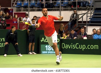 BELGRADE-APRIL 7:Player V.Troicki(SRB)return a ball during a match against Pablo CARRENO BUSTA(ESP) during Quarterfinalsl Davis Cup Serbia-Espania.V.Troicki won 3:0,on April 7,2017 in Belgrade,Serbia